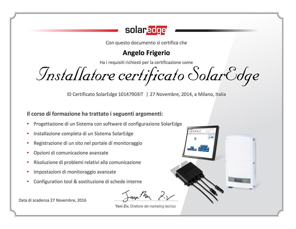 SOLAR EDGE - CERTIFICATO INSTALLATORE Angelo Frigerio